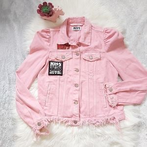 Zara KISS Pink Distressed Denim Jean Jacket RARE